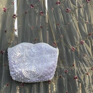 Vintage white beaded bag with gold hardware